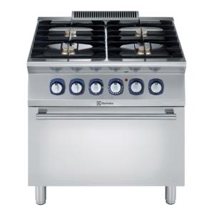 Cucina con forno professionale elettrico e 4 fuochi