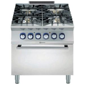 Cucina 4 fuochi a gas con forno professionale elettrico